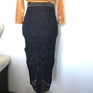 Navy lace midi skirt
